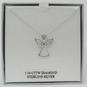"Macy's Diamond (1/10 ct. t.w.) Angel 18"" Pendant"